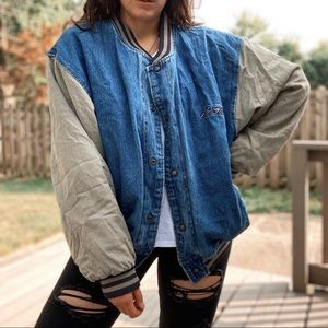 Vintage 90's No Fear Denim Varsity Jacket